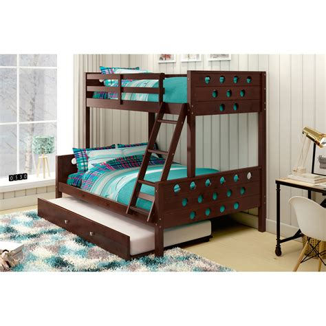 low height bunk beds furniture dark brown wooden bunk bed with storage drawer