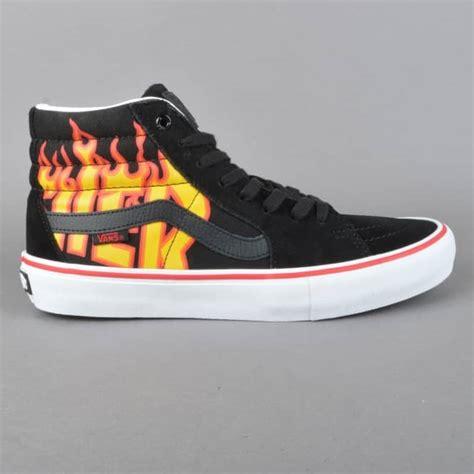 Trhasher X Vans vans x thrasher sk8 hi pro skate shoes thrasher black skate shoes from skate store uk