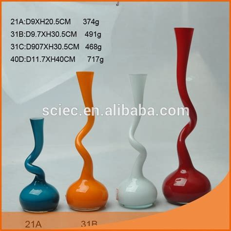 decorative different types glass vase special colorant