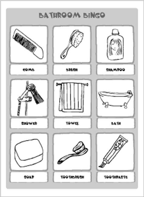 bathroom related words bathroom vocabulary for kids learning english printable