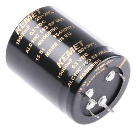 kemet aluminum capacitor alc10c153ef063 kemet aluminium electrolytic capacitor 15000μf 63v dc 40mm can snap in