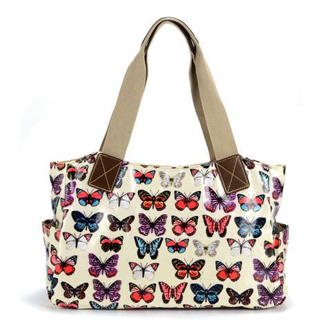 owl butterfly print oilcloth shoulder bag tote shopper carry day handbag