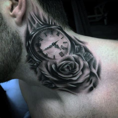 rose neck tattoos for men 100 pocket designs for cool timepieces