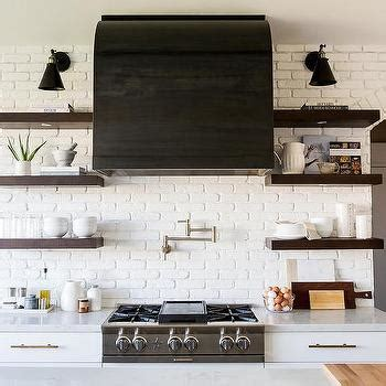 Black Range Hood with Wood Shelves   Country   Kitchen