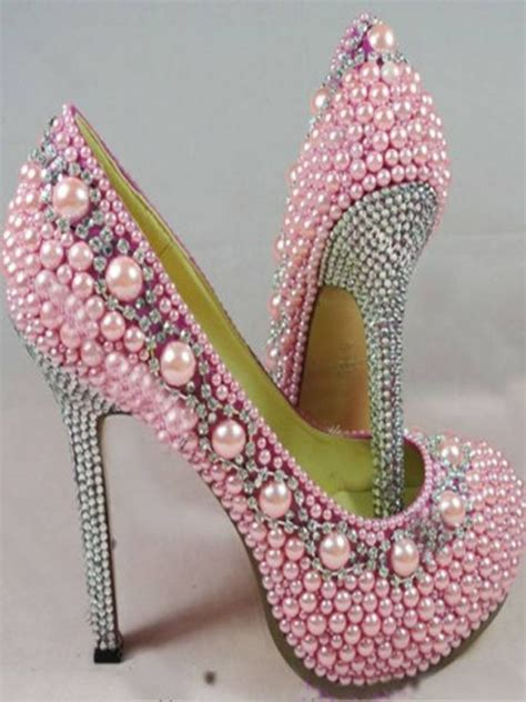 Pearl Pink Shoes high heel pink pearl shoes pink sassy