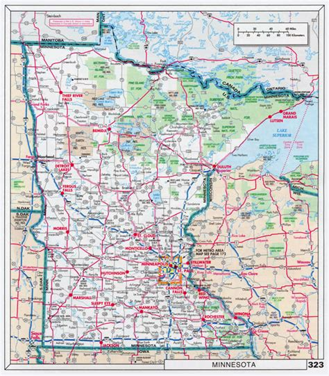 minnesota state map large scale roads and highways map of minnesota state with national parks and cities vidiani