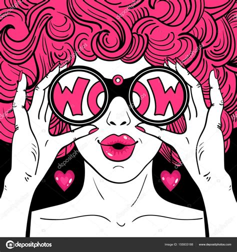 imagenes retro pop wow pop art face sexy surprised woman with pink curly