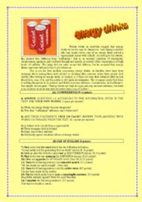 energy drink lesson plan worksheet energy drinks