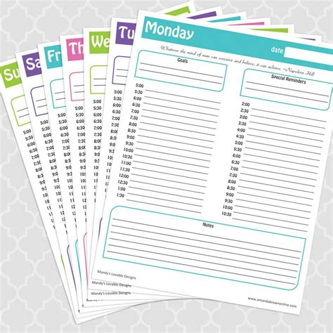 printable daily planners time management 7 sheets sweet and spicy bacon wrapped chicken tenders time