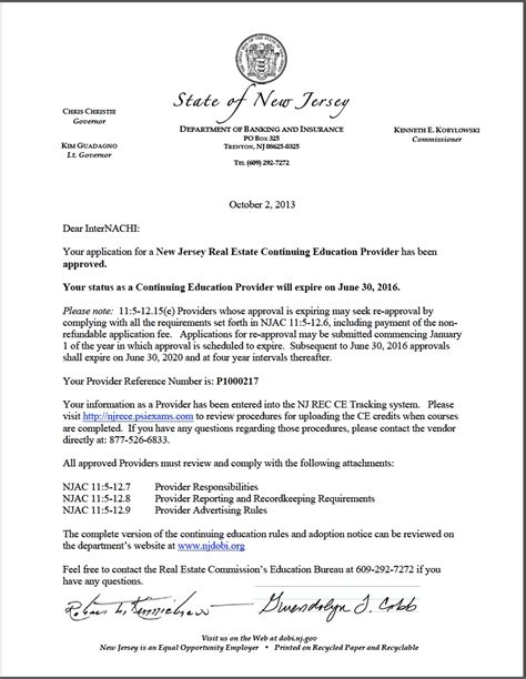 Bad Evaluation Letter New Jersey Real Estate Commission Approves Internachi As A