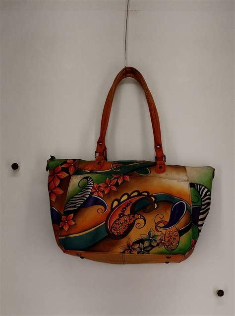 painted leather handbags anuschka sz large painted leather tote brown handbag ebay