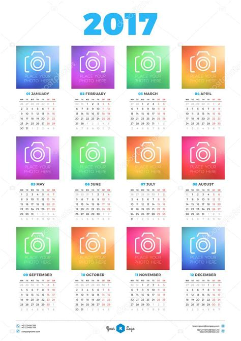 calendar poster template calendar design template for 2017 year week starts monday