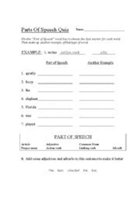 printable quiz for parts of speech 14 best images of basic parts of speech worksheet