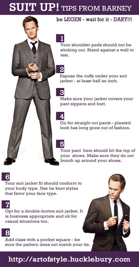 7 Must Fashion Tips by Suit Up 8 Tips From Barney Stinson Infographic Be Legen