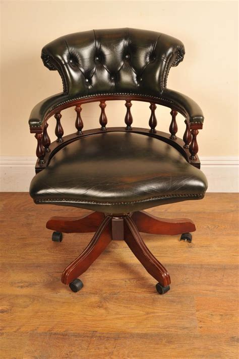 Leather Captains Tub Chair Swivel Office Leather Captains Swivel Chair