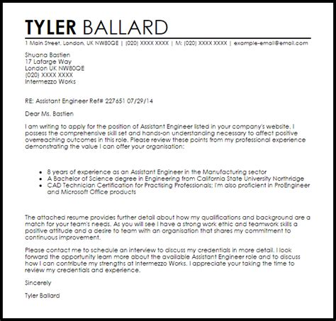 Assistant Engineer Cover Letter Sample   LiveCareer