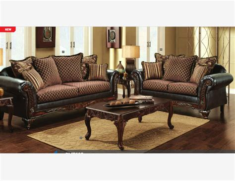 traditional gold brown fabric leather sofa loveseat pillow