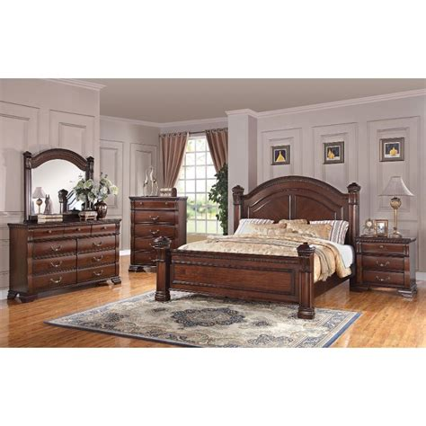 queen bedroom furniture set isabella dark pine 6 piece queen bedroom set