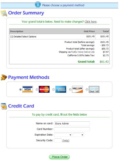 payment page html template checkout