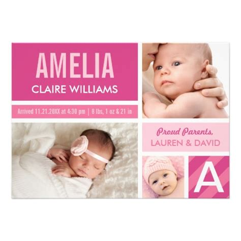 birth announcements damask baby announcement pink and brown