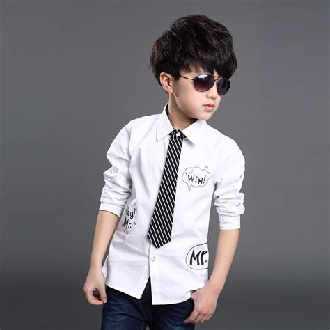 Blouse Boy 2015 shirt for boy with tie clothes white blouse