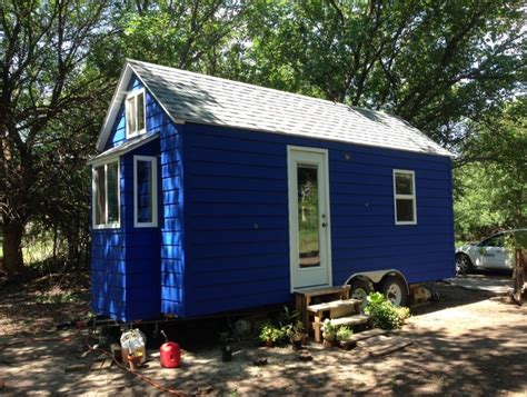 tiny little houses tiny blue house on wheels for sale in hesston kansas
