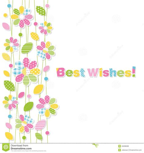 best wishes pictures best wishes flowery greeting card stock vector