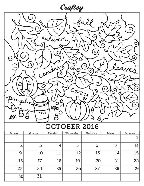 october 2016 calendar page you can color