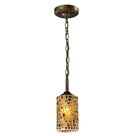 Bronze Mini Pendant Light Springdale Lighting Knighton 1 Light Antique Golden Bronze Mini Pendant With Mosaic Glass