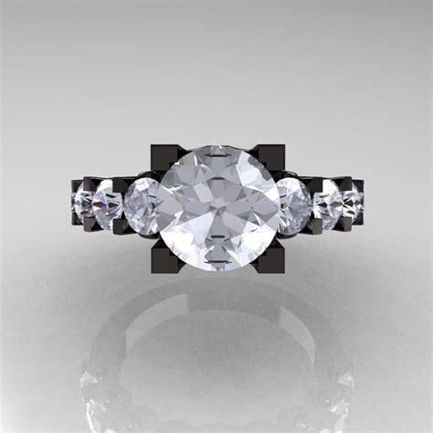 modern vintage 14k black gold 3 0 carat white sapphire