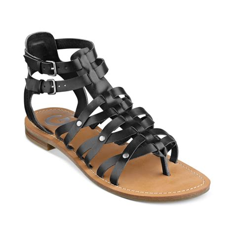 gladiator flat sandals g by guess womens harlaa gladiator flat sandals in black