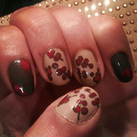 Rire Lip Manicure Pink Brown pink brown flower twig nail my nail s spot pink