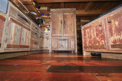 barn board kitchen cabinets red painted barn wood cabinets rustic dream homes