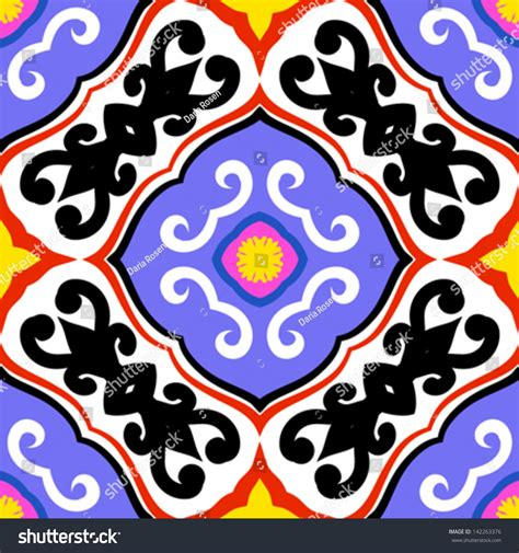 Ikat Pinggang Leaf Shape Decorated Color Design Ra5775 suzani vector seamless ethnic pattern uzbek stock vector 142263376