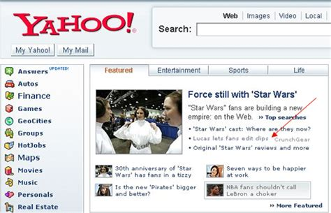 yahoo experiments with non yahoo links on home page