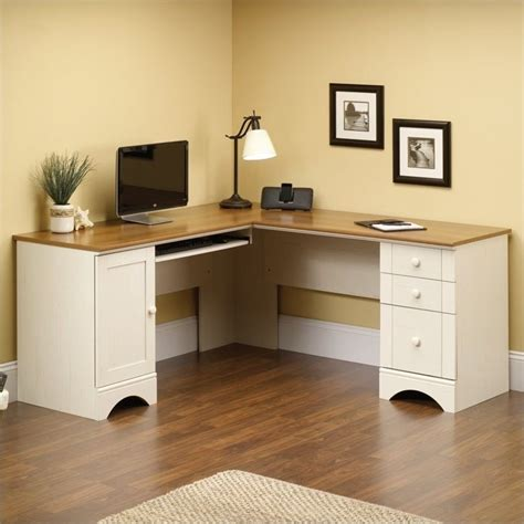 White Computer Corner Desk Corner Computer Desk In Antiqued White 403793