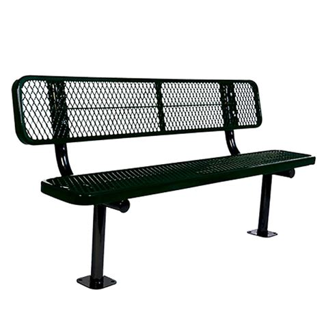 commercial metal benches ultra play 6 ft diamond green in ground commercial park
