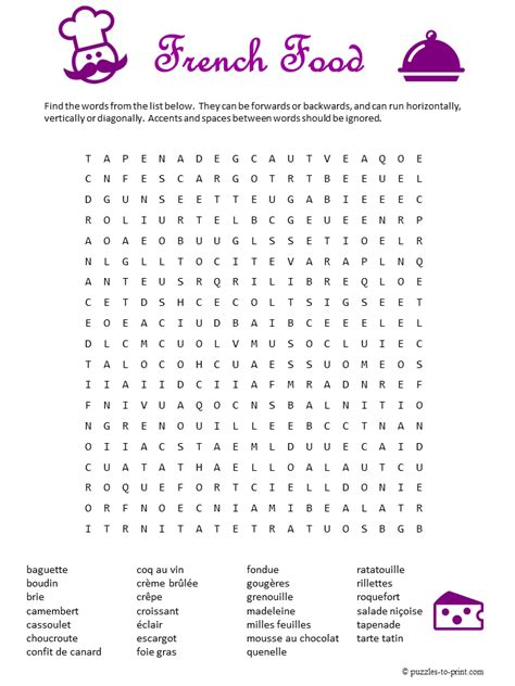 printable word search cooking french food word search