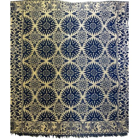 jacquard coverlet mariners compass 1851 jacquard coverlet from