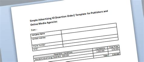 Simple Advertising Insertion Order Template For Microsoft Word Advertising Order Form Template