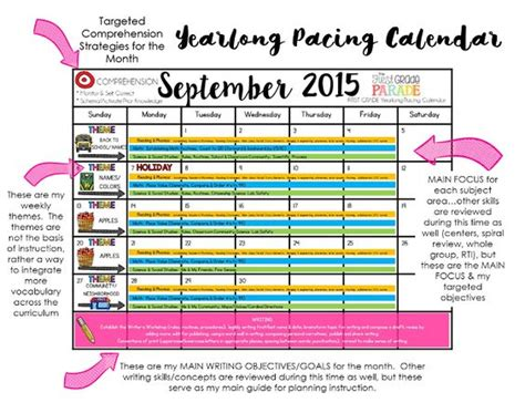 pacing calendar template for teachers year planning school pacing guide