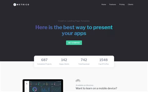 Metrico Bootstrap 4 Landing Page Template Wrapbootstrap Bootstrap 4 Landing Page Template