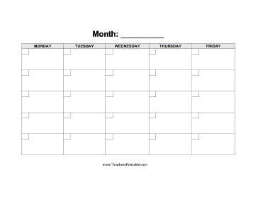 free 5 day calendar template a blank calendar displaying a five day week with boxes in