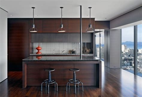 pendulum lights and stools for kitchen studio