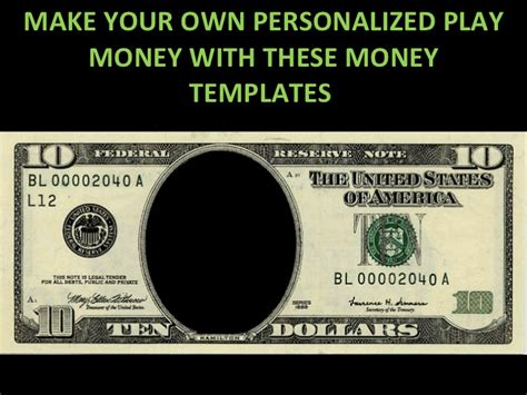 Customizable Money Template play money personalized templates