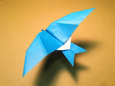 Origami Fly - how to make a paper plane origami bird leach s