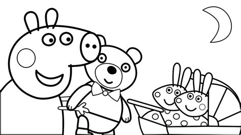 peppa pig coloring pages baby peppa pig with teddy bear toy and little baby alexander