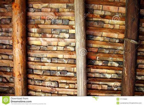 Indoor Roof Tiles Clay Square Roof Tiles Ceiling Indoor Wooden Beams Stock