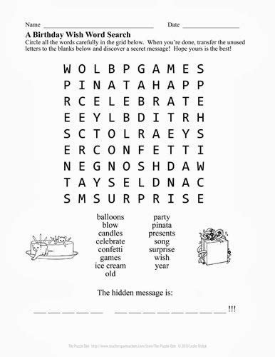 Free Search Birthday A Birthday Wish Free Word Search My Puzzle Freebies Word Search And