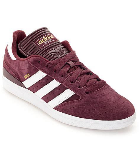 adidas busenitz burgundy white gold shoes zumiez